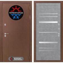 Входная дверь Лабиринт Термо Магнит 20 - Бетон светлый, зеркальные вставки