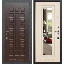 Входная металлическая дверь Лекс 4А Mottura с зеркалом (Венге / Беленый дуб)